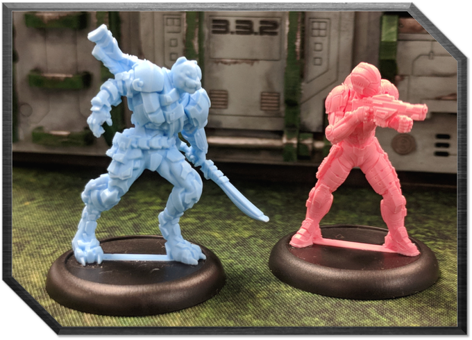 Miniatures are colored based on their faction