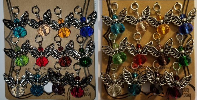 Charm colours with and without flash