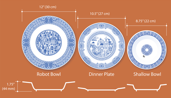 Oodles of Robots Bowl is bigger than previous Calamityware plates and bowls.