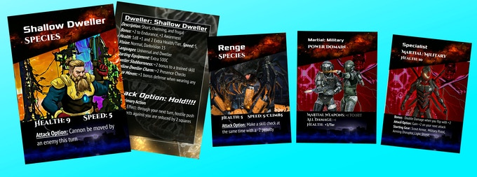 Starter Decks with Species, Power Domains, Archetypes, and Equipment