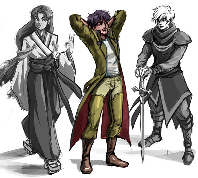 Concept sketches of the cast.