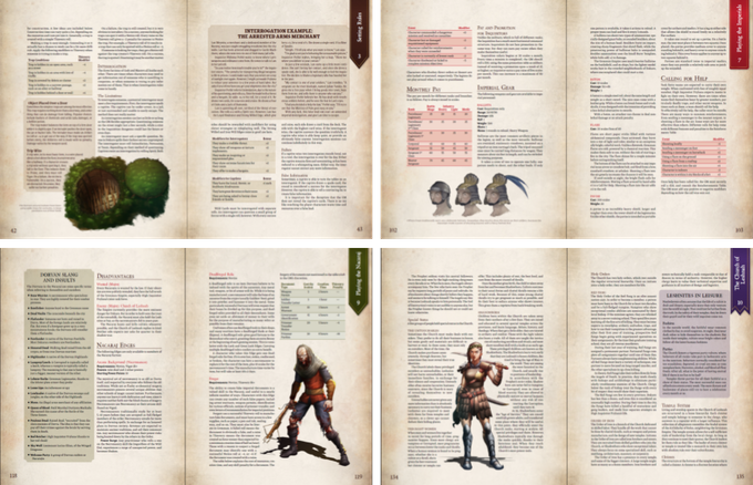 Various sections of the book are emblazoned with a color-coded banner on the right page for easy reference. The general parts of the Player's Guide and Master's Guide are brown, while the Faction sections and Savage Tales sport red for the Imperials, green for the Nacarajin, and purple for the Leshnites.  Even the sidebars and tables are colored to match.