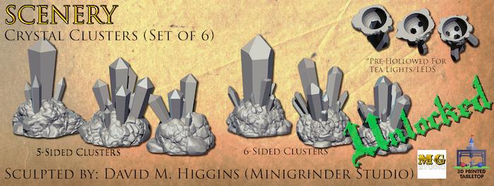 Crystal Clusters Set Render