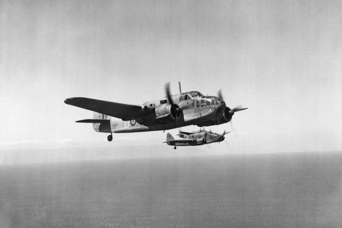 Bristol Beaufort planes (No.39 Squadron RAF) flying in formation over the Mediterranean Sea, 1942.