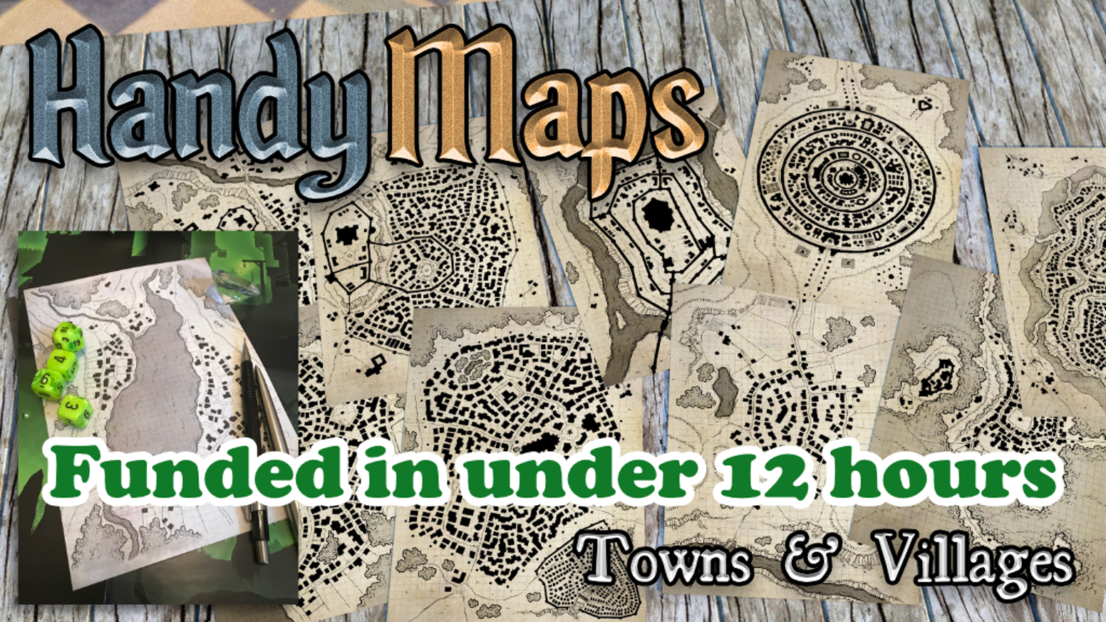 Double-sided, A5 town & village map card handouts by Gold ENnie award-winning cartographer, Glynn Seal. For all role-playing games.