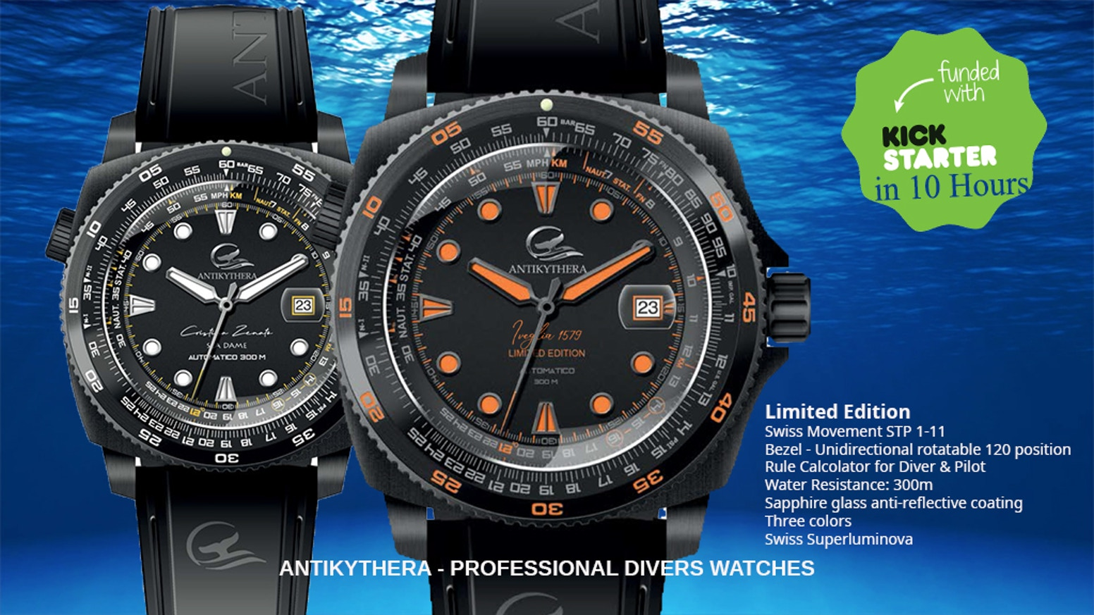 ANTIKYTHERAWATCHES SEA DAME & IVEGLIA 1579Automatic professional diving watch 300 M