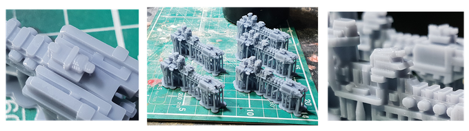 Bed of space ships with close up shots of layers and fine supports (Low Odour Tough 50um)