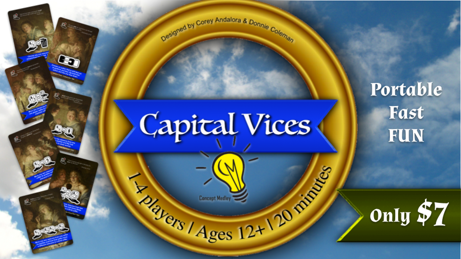 Carefully arrange the Capital's resources to boost your virtue and expose others' vice - portable and playable in 20 minutes!
