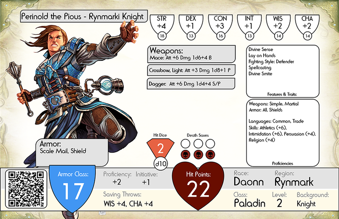 "Character card for ""Perinold the Pious - Knight of Rynmark"" (in ceremonial garb) - Iconic Paladin for the Eryphir S118 Series!"