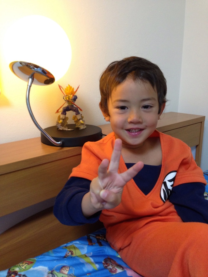 Rachel, one of our customers, shared with us this pic of her 3 year old son, who feared sleeping alone, but with Vegeta to his side it changed overnight.