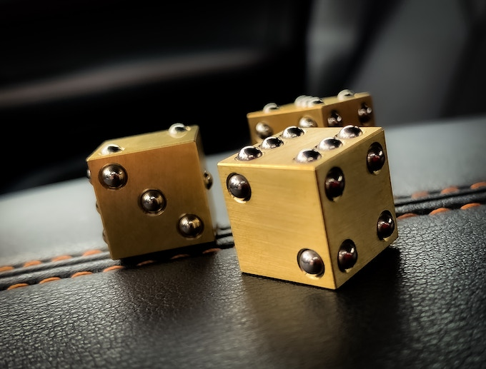 Precision Machined Brass Dice with Stainless raised PIPs