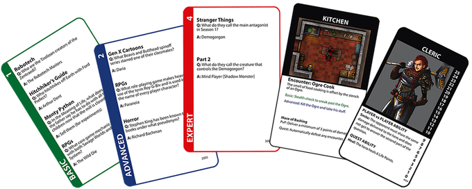 An example of each type of card. Left to right: Basic Question, Advanced Question, Expert Question, Adventure, Hero