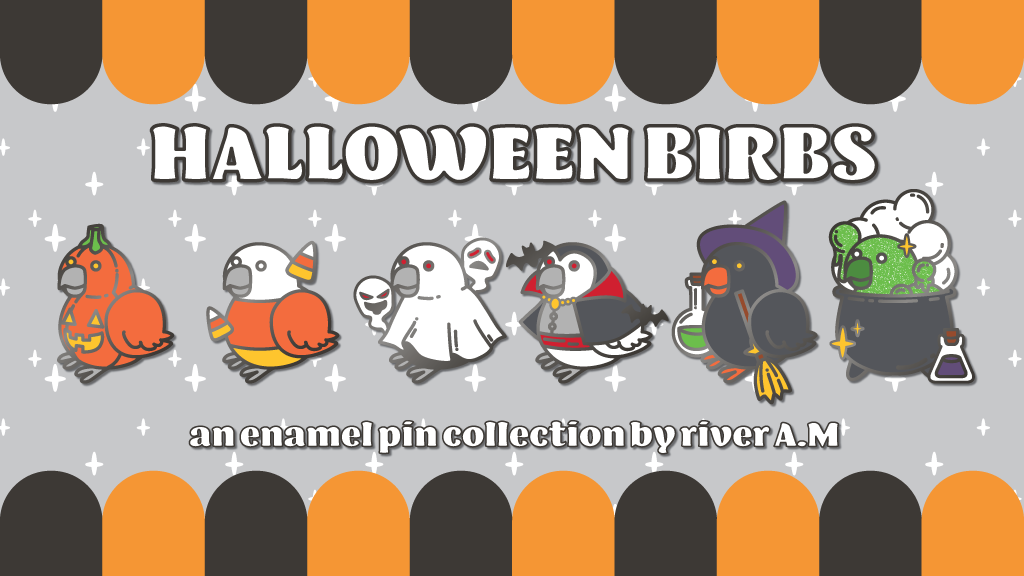 Project image for Halloween Birb enamel pins!