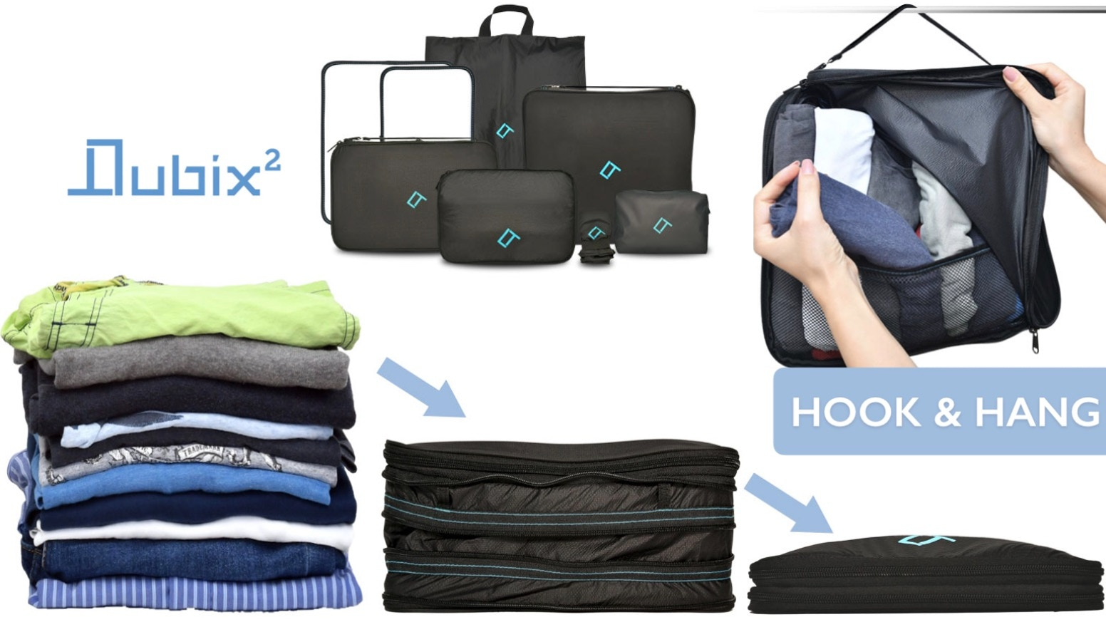 Super Strong Double Compression Packing Cubes That Hang | Save 66% Luggage Space | Light Weight | Water Resistant | Built To Last