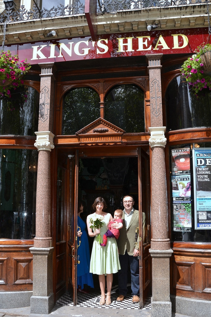 Katherine on the day of her wedding blessing - at The King's Head with husband Fraser & baby daughter Arielle