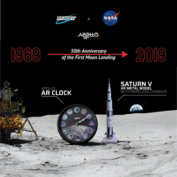 APOLLO 50th - Apollo AR Clock & Saturn V AR Metal Model