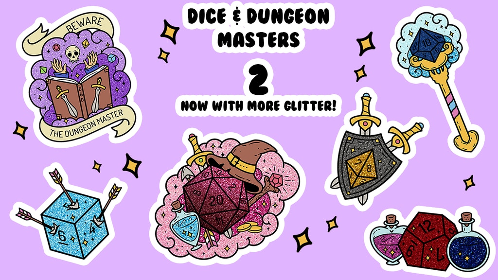 Project image for Dice & Dungeon Masters 2 Enamel Pins! Glitter Edition!