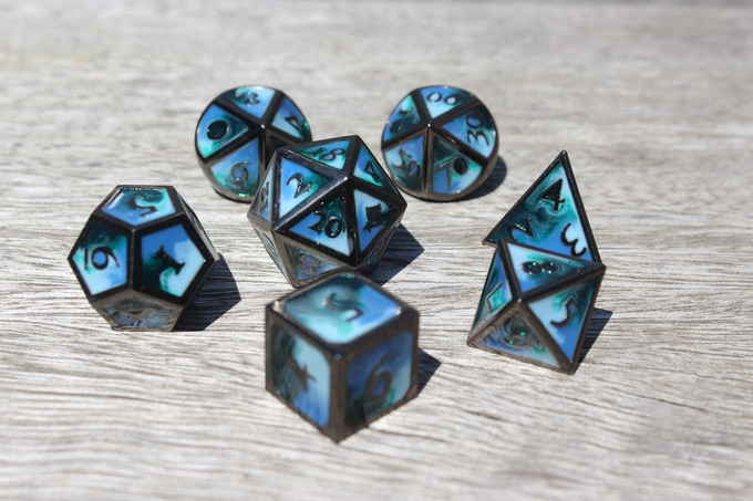 Deep Ocean Elemental Metal Dice