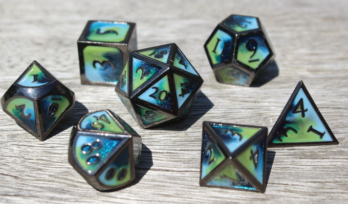 Tropical Ocean Elemental Metal Dice
