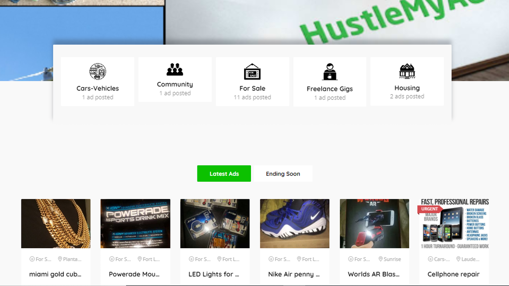 Create New Classified Ad website Hustlemyad.com