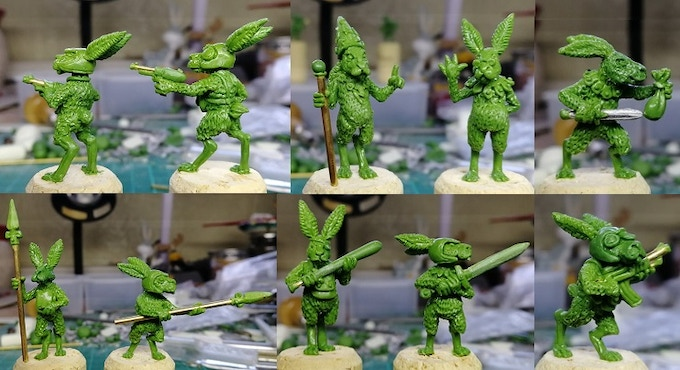 The sculpts in their original green putty before molding...