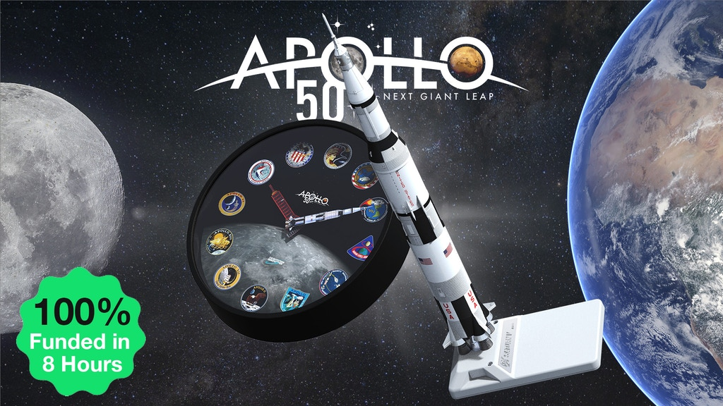 The Apollo augmented-reality clock and Saturn V AR Model are a tribute to our past space adventures