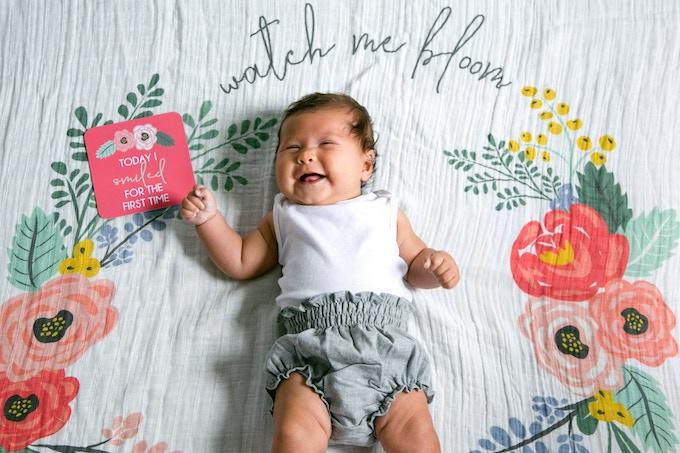 Bloom Milestone Blanket & Card Set