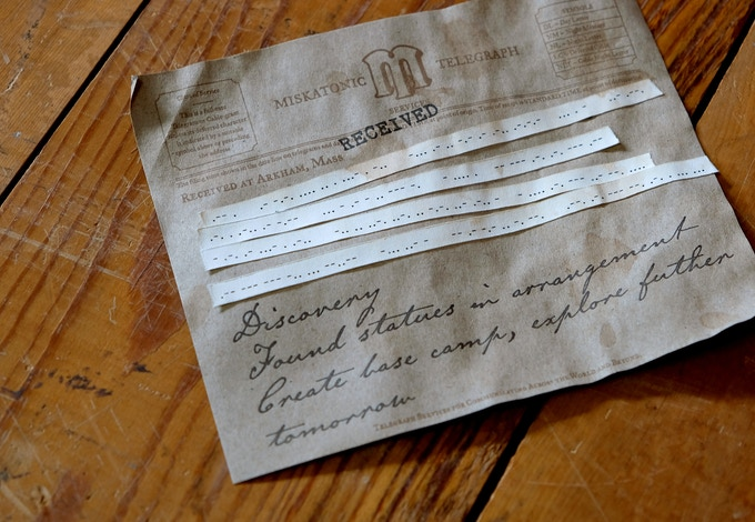 Own your very own piece of the expedition, a telegram including morse code on ticker tape, just like telegrams used to have.