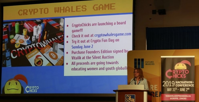 CryptoWhales launch at the 2019 CryptoChicks Hackathon + Conference