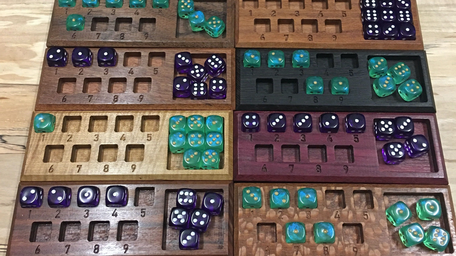 Custom Spell Trackers using dice  and made with exotic hardwoods