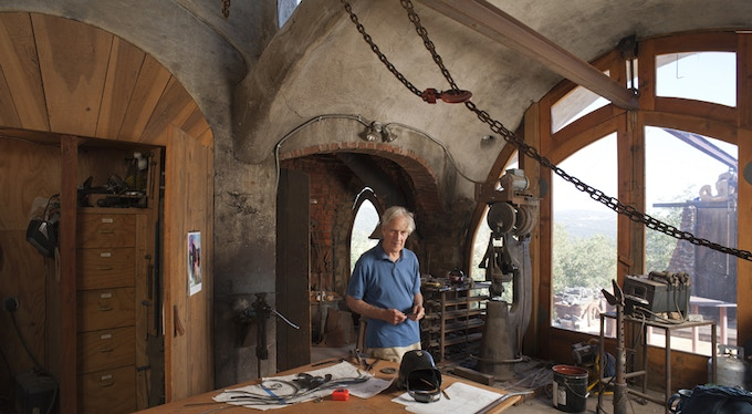 James Hubbell in his Julian, CA studio.  Photo by John Durant