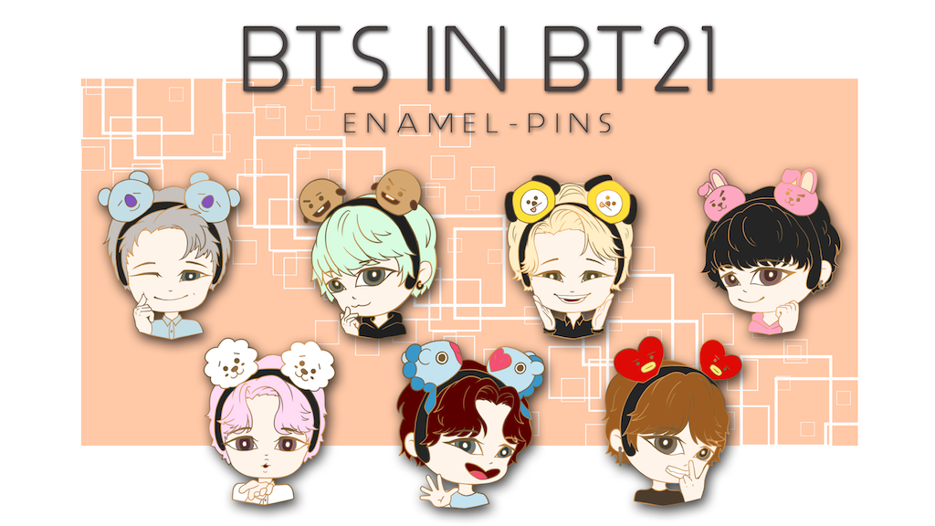 Project image for BTS in BT21 Enamel Pins
