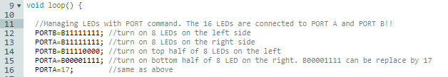 This code shows how easy it is to manage the LEDs, since they are connected to 16 special digital GPIOs: PORT A and PORT B