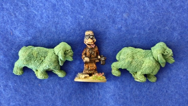 Adult Noif next to a Blind Beggar Palaeo Diet Hunter miniature