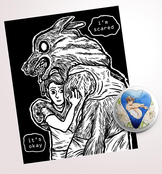 Bonus 8x10 print by Dov Tennenbaum and button by Andrew Larkin!