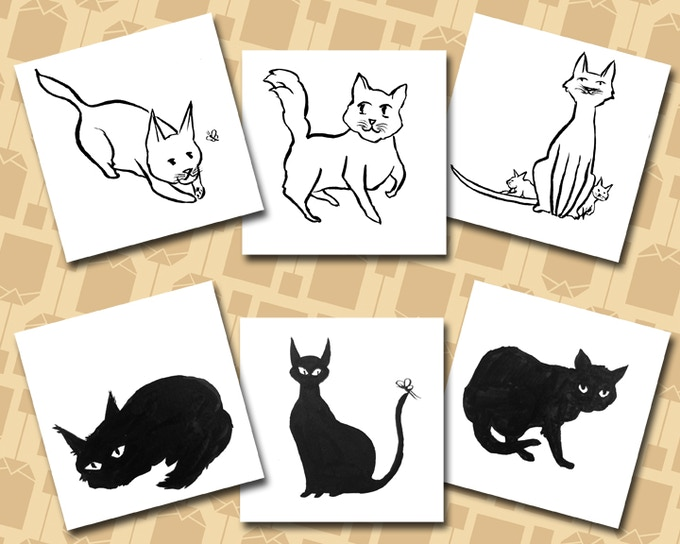 Cat sketches for EARLY BIRD GETS THE KITTY reward.