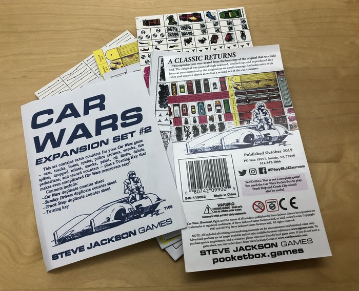 Car Wars Expansion Set 2, and there are definitely die-cut counters included in this package.