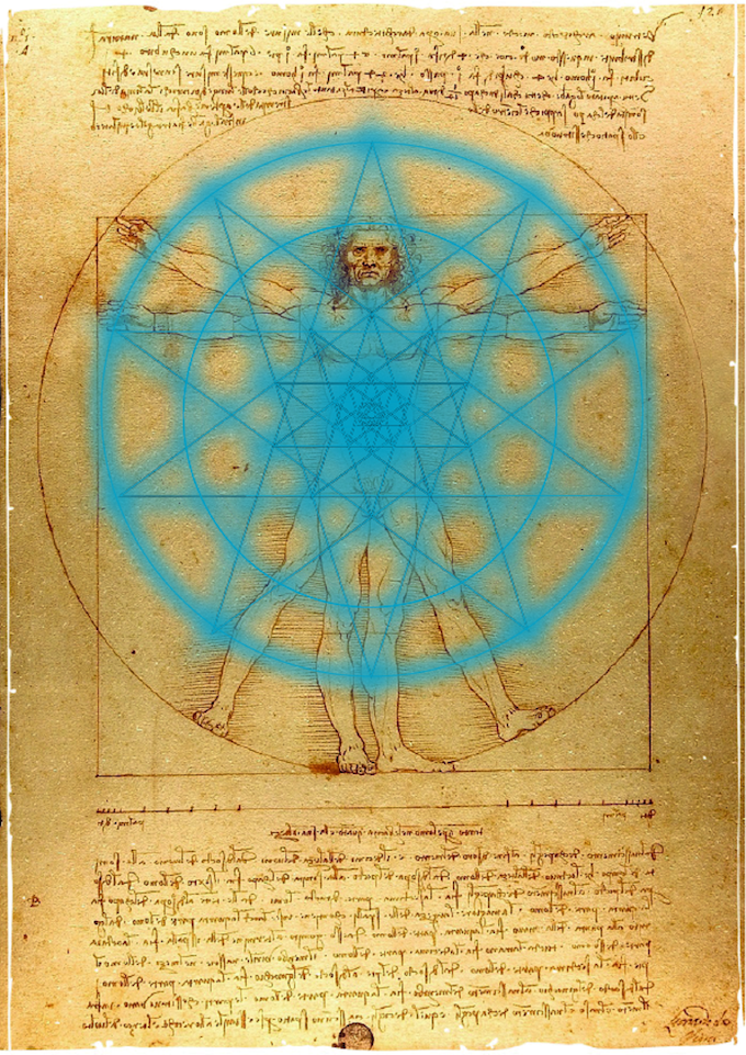 Leonardo da Vinci's Vitruvian Man (Public Domain Mark), as well as many other works of art, conceals a mystery to be revealed.