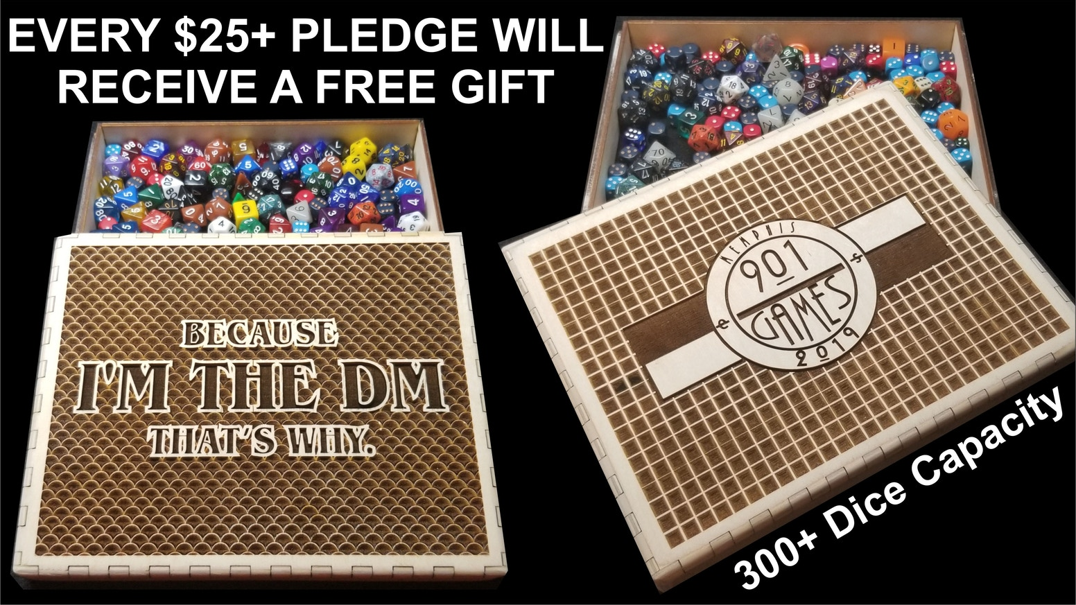 Capacity of over 300 dice in the XL plus Eco-Friendly Felt lining both the top and bottom make these a wonderful addition @ game night