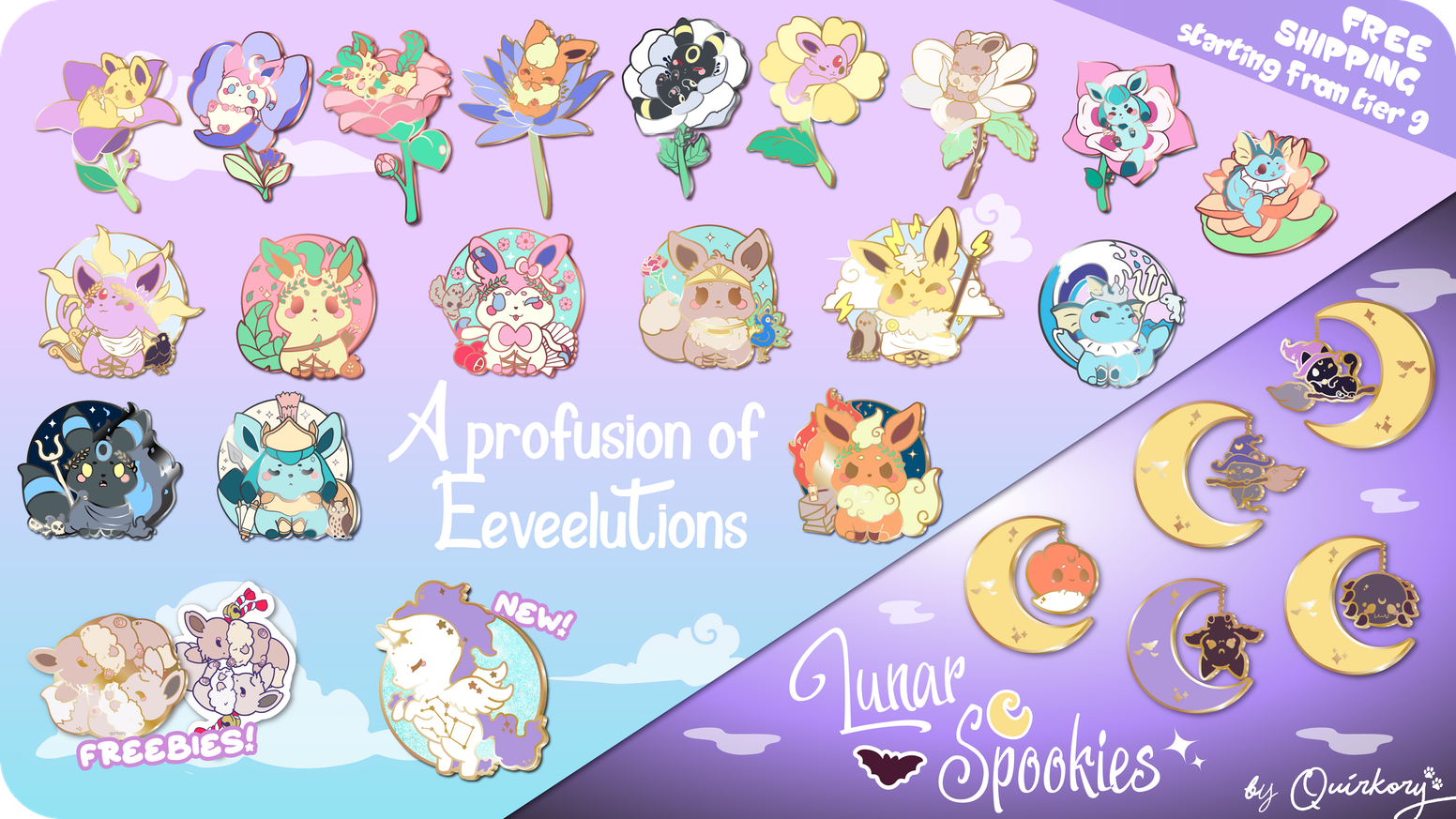 An awesome quirky collection of hard enamel pins with 2 different sets of our beloved Eeveelutions, meets a magical Spooky collection!