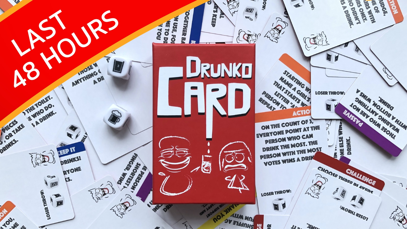 A party game that involves cards, mini games, dice and drinks. This is the next party game you want your hands on!
