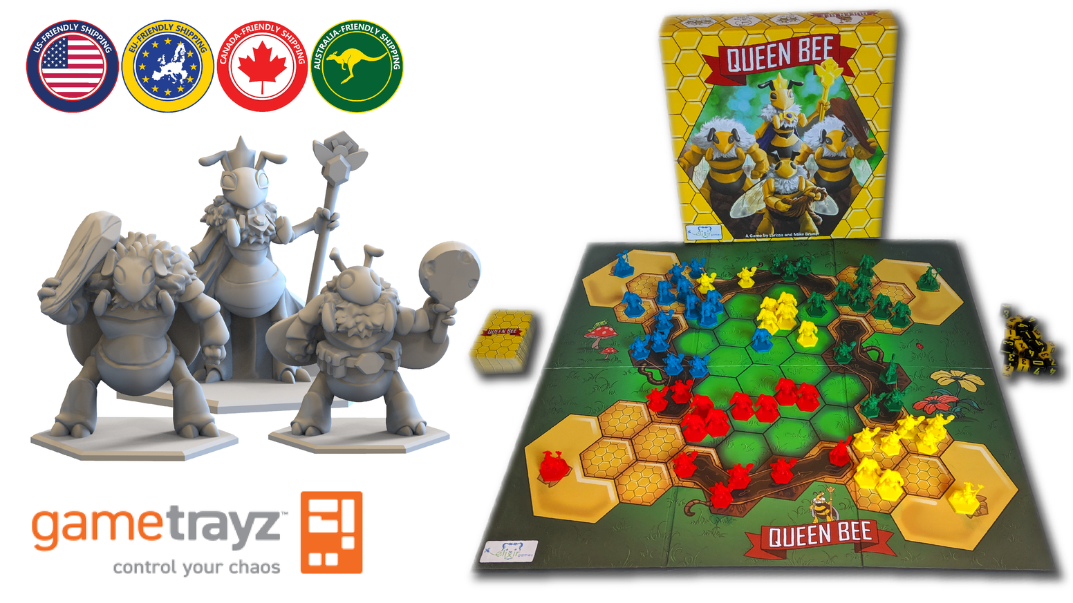 Use strategy to beat your opponents and become the last remaining Queen Bee. A minis game with a unique spin on player elimination.
