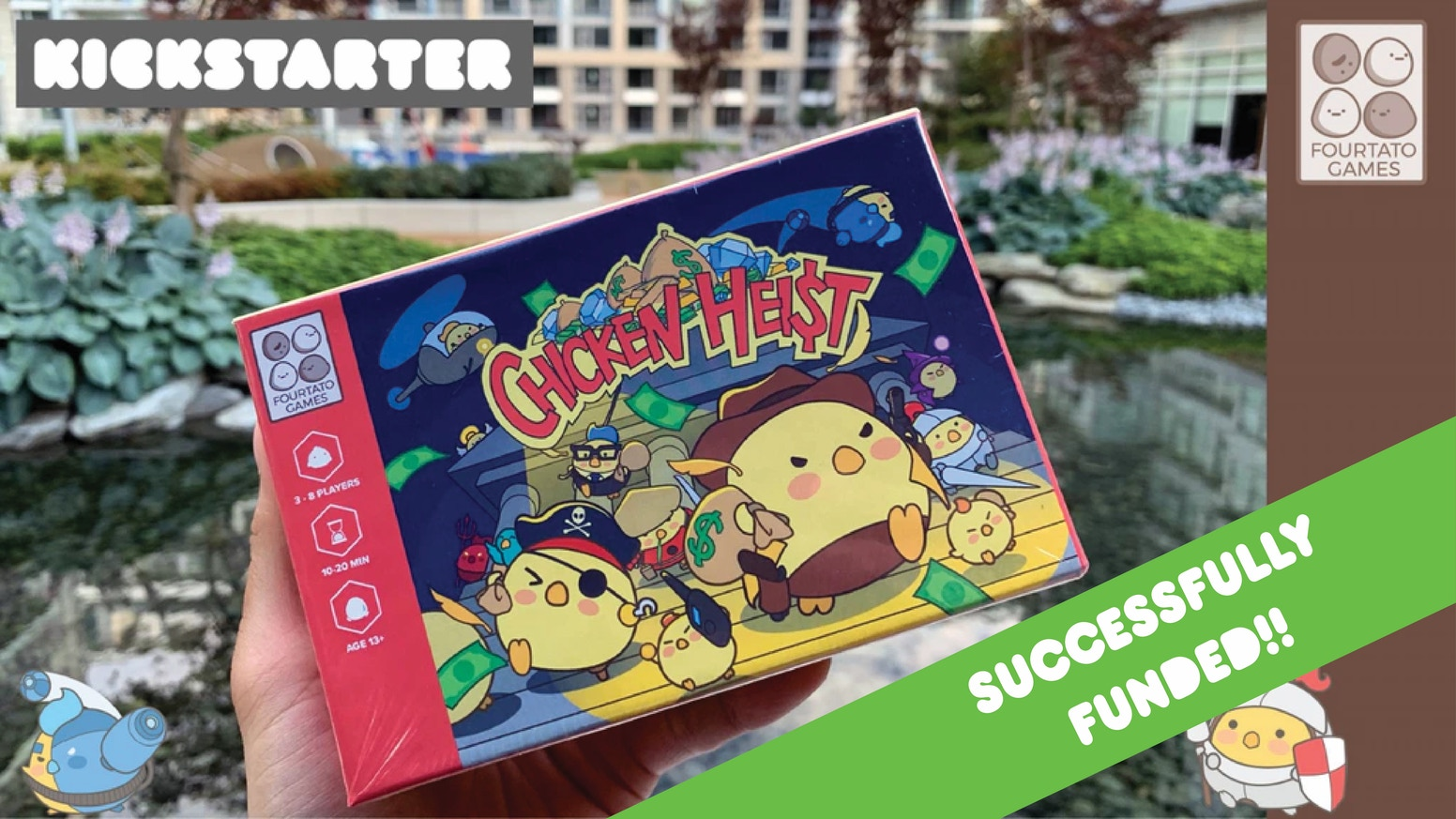 Chicken Heist is a push-your-luck card game for 3-8 players. A dynamic game where danger awaits you in every turn!
