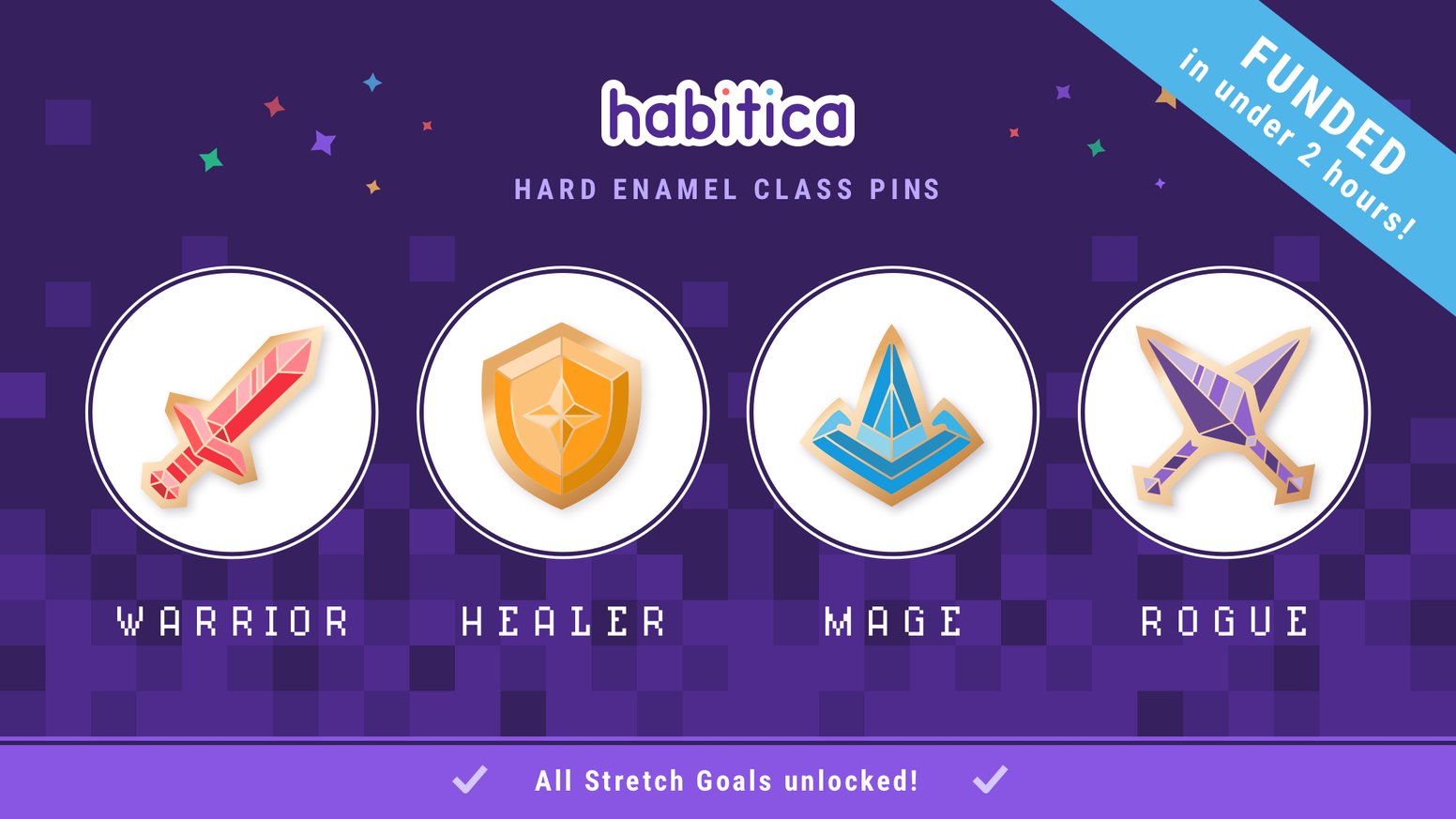 Enamel pins of the Habitica RPG class icons
