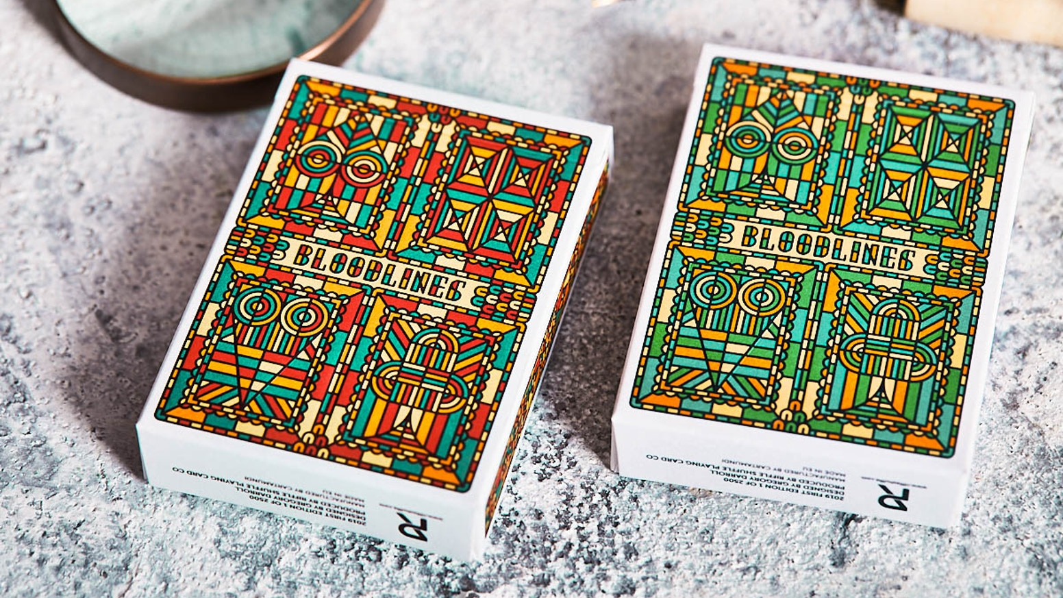 Surprises with a stained-glass looking surface with many details. A true classic for playing card collectors.