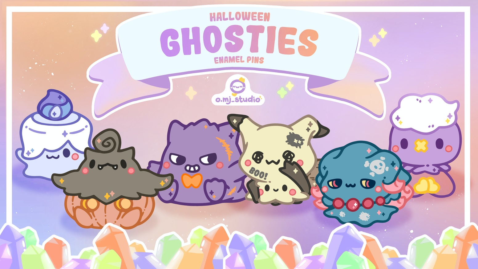 A collection of Hard Enamel Pins featuring spooky and cute Halloween Ghosties to go trick-or-treating with!