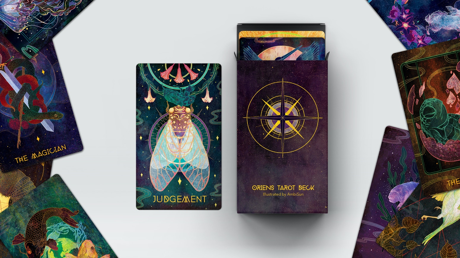The Oriens tarot deck features 78 unique animals, reflecting nature through mythical and ethereal means.