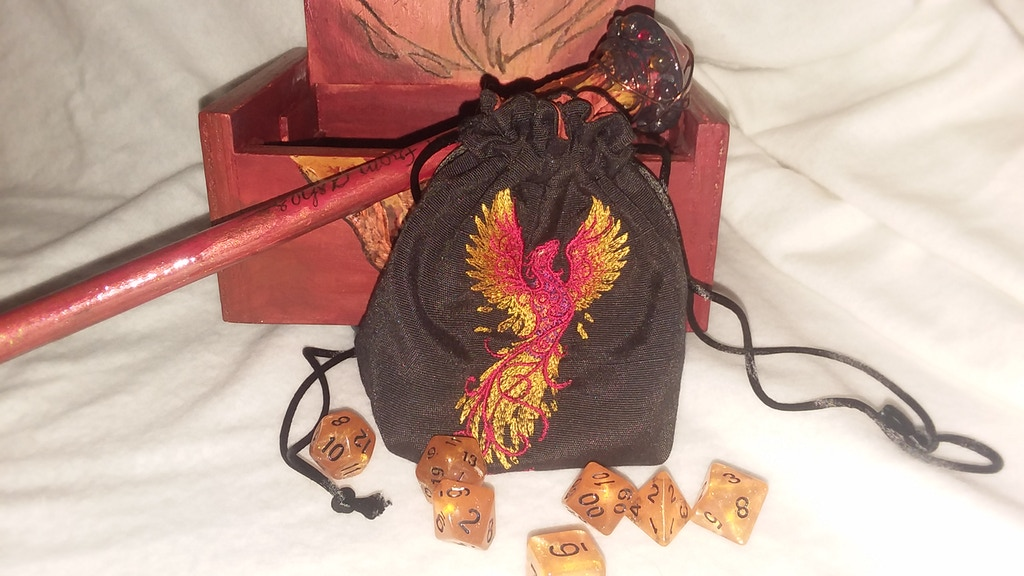 Project image for GeekDonuts embroidered bag and dice for RPG players