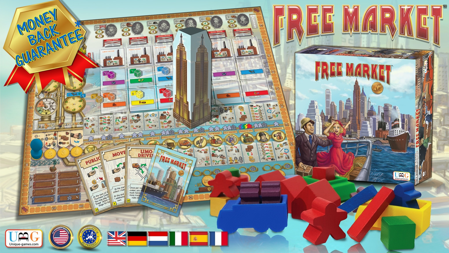 FREE MARKET is a social board game based on worker placement & resource management, involving cartoonish characters and humorous twists