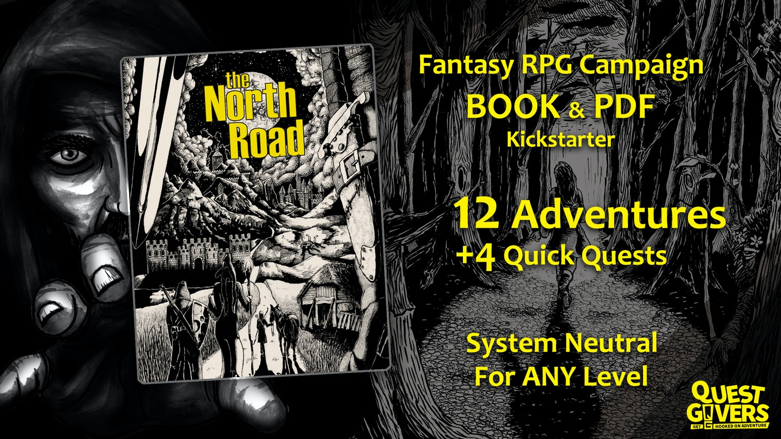 An RPG system neutral fantasy role-playing adventure campaign BOOK and PDF of 12 modules and 4 additional quests. Fully Funded
